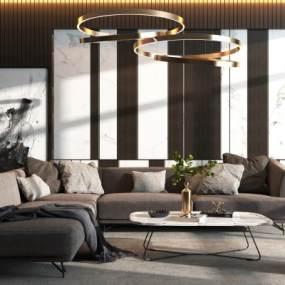 现代沙发装饰画吊灯组合3D模型【ID:648383715】