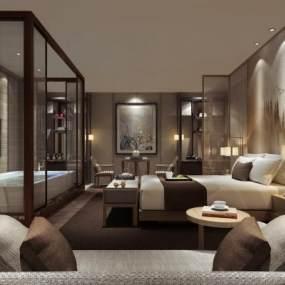 现代酒店客房3D模型【ID:741557391】