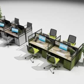 现代办公卡位办公桌椅组合3D模型【ID:930690125】
