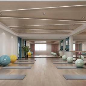 现代舞蹈房瑜伽室3D模型【ID:935599608】