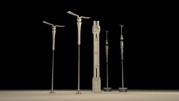 現代路燈3D模型【ID:232700545】