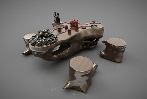 新中式茶桌3D模型【ID:842015874】
