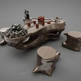 新中式茶桌 3D模型【ID:842015874】