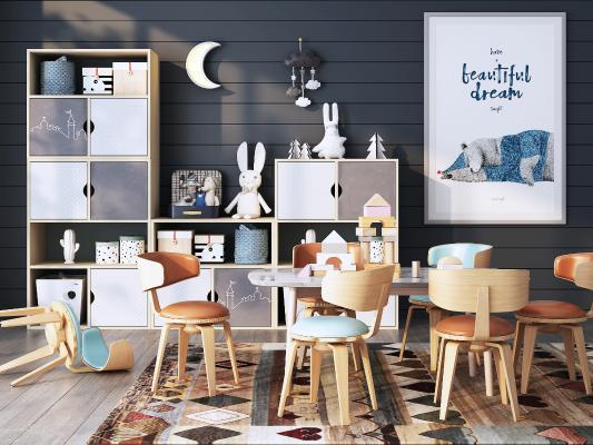 北欧儿童桌椅组合3D模型【ID:941640388】