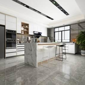 現代開放式廚房3D模型【ID:551386342】