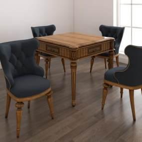 美式风格餐桌椅3D模型【ID:730617182】