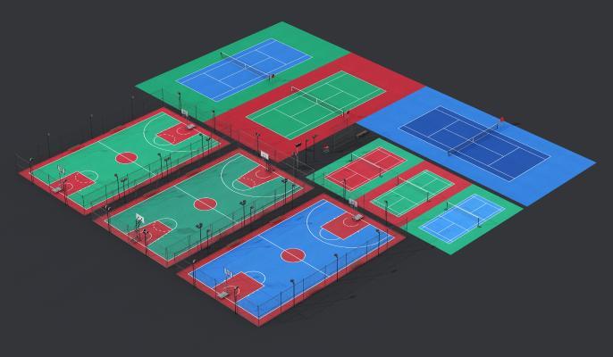 現代戶外球場3D模型【ID:349157873】