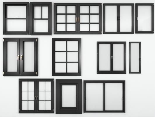 現代窗戶組合模型3D模型【ID:330851279】