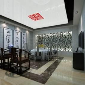 新中式酒店包厢3D模型【ID:634712651】