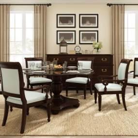 美式木色餐桌椅3D模型【ID:844146843】