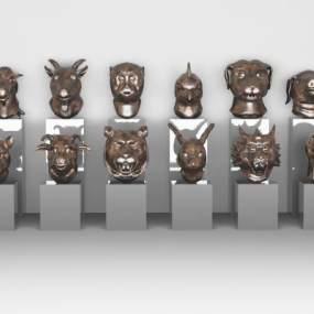 传统中式十二生肖首部构建3D模型【ID:349215482】