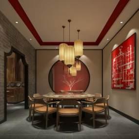 中式餐桌椅包厢3D模型【ID:636072860】