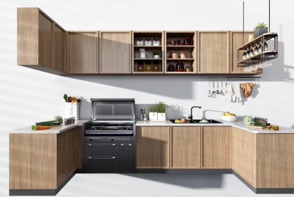 现代厨房厨柜3D模型【ID:145872002】