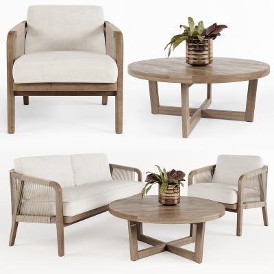 现代实木休闲户外桌椅3D模型【ID:743692549】