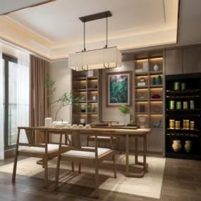 新中式茶室茶桌吊灯组合 3D模型【ID:640923193】