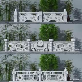 工业风石材栏杆方案3D模型【ID:332753459】