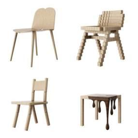 北欧儿童单椅组合3D模型【ID:735830711】