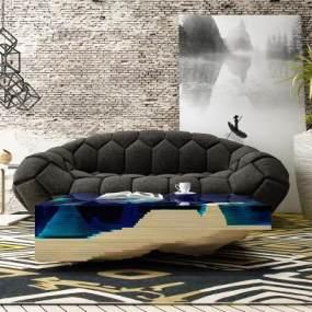 后现代沙发组合3D模型【ID:633511735】