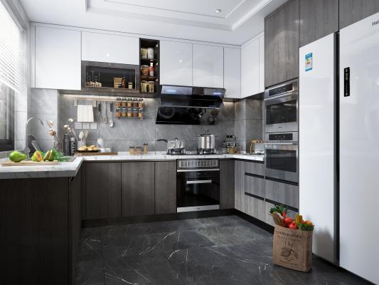 现代厨房3D模型【ID:550972356】
