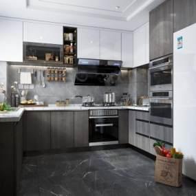 現代廚房3D模型【ID:550972356】