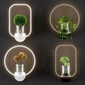 北欧绿植环形壁灯组合3D模型【ID:745635935】