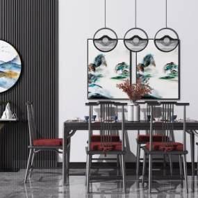 新中式实木餐桌椅3D模型【ID:849347803】