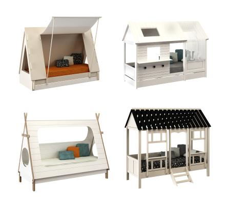 儿童房屋帐篷床3D模型【ID:843875886】