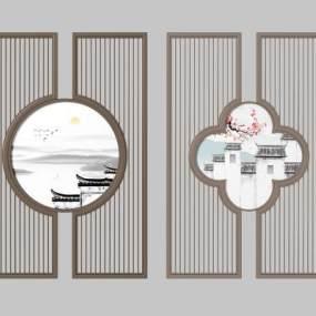 新中式隔断屏风组合3D模型【ID:335774723】