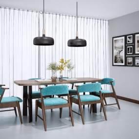 新中式餐桌椅3D模型【ID:845518818】