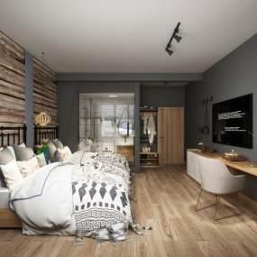 北歐名宿客房3D模型【ID:743948312】