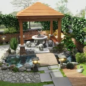现代阳台花园露台葡萄架3D模型【ID:130764430】