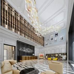欧式酒店大堂3D模型【ID:753485029】