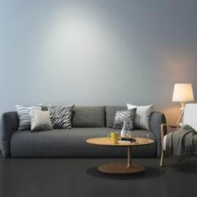 现代灰色布艺沙发3D模型【ID:634334603】