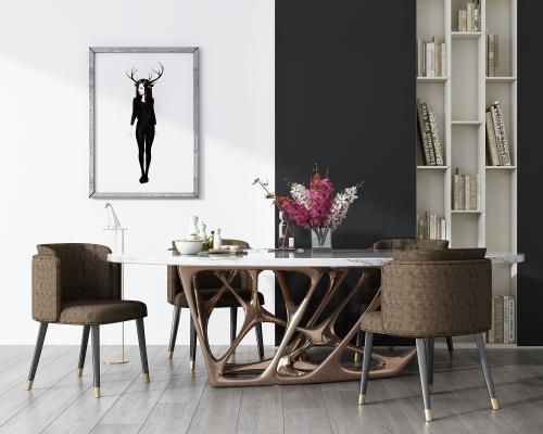 现代餐桌椅组合3D模型【ID:843609899】
