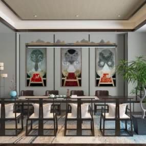 新中式餐桌组合3D模型【ID:844395828】