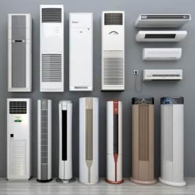 现代挂机柜机空调组合3D模型【ID:230571690】