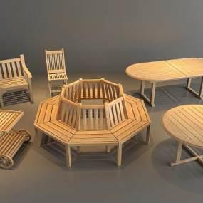戶外桌椅 3D模型【ID:841635944】