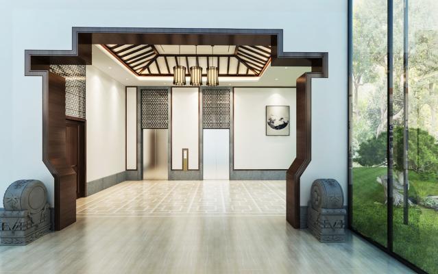 中式酒店门厅3D模型【ID:744909654】