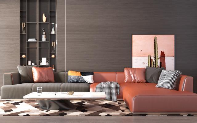 现代皮革沙发3D模型【ID:653902730】