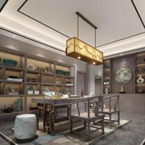 新中式茶室3D模型【ID:650277179】