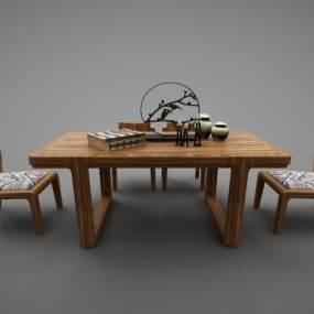 新中式风格休闲桌3D模型【ID:844296952】