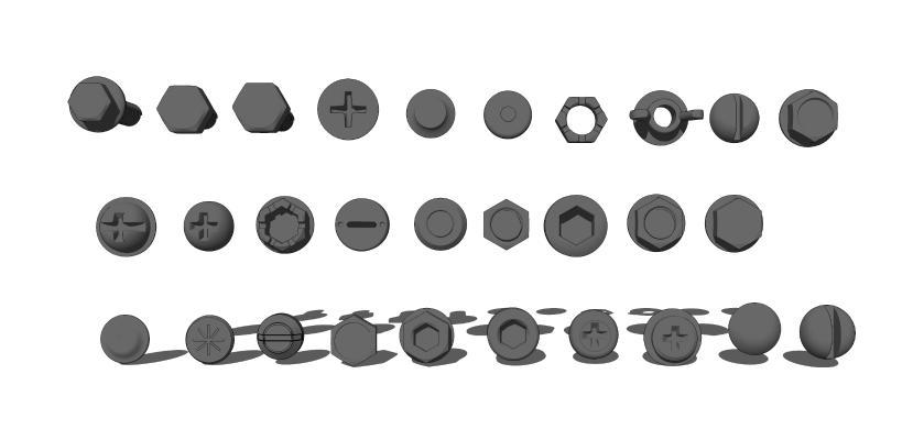 現代螺絲螺母螺釘組合SU模型【ID:648563736】