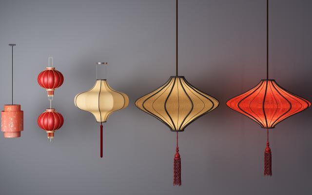 传统中式灯具灯笼3D模型【ID:732292875】