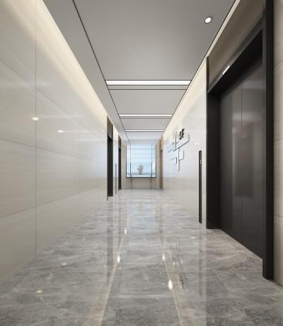 现代办公电梯厅3D模型【ID:946577562】