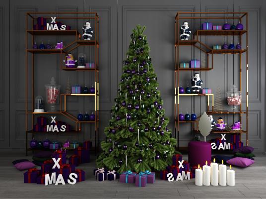 现代装饰圣诞树3D模型【ID:340654620】