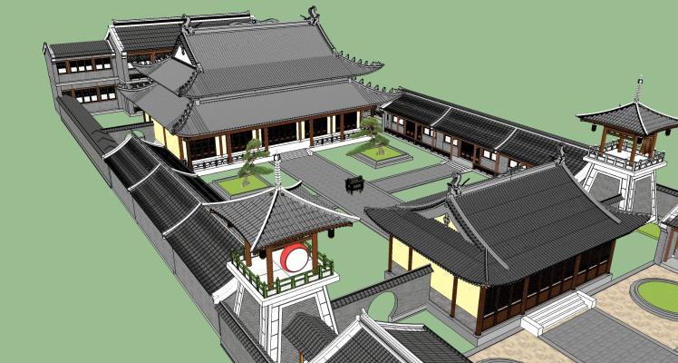 中式古建寺廟大殿SU模型【ID:844801640】