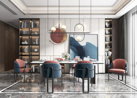 现代轻奢餐厅 餐桌 餐椅