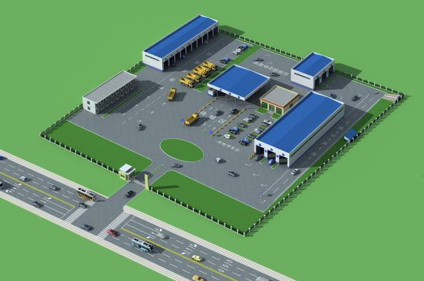 現代場區鳥瞰圖,辦公樓3D模型【ID:231448371】