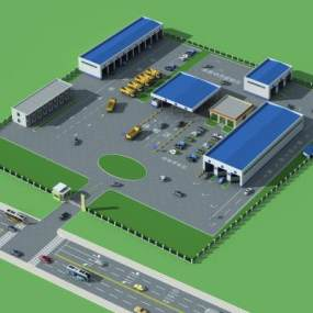 现代场区鸟瞰图,办公楼3D模型【ID:231448371】