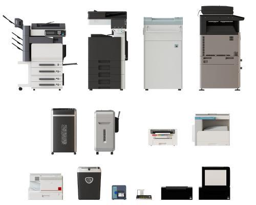 现代复印机打印机组合3D模型【ID:440591504】